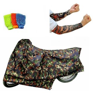 Bull Rider Bike Body Cover with Mirror Pocket for Jungle Print (Colour Jungle Print) + Free (Arm Tattoo + Microfiber Gloves) Worth Rs 250