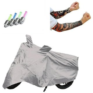 Bull Rider Bike Body Cover with Mirror Pocket for Silver (Colour Silver) + Free (LED Light + Arm Sleeves) Worth Rs 250