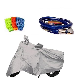 Bull Rider Bike Body Cover with Mirror Pocket for Silver (Colour Silver) + Free (Microfiber Gloves + Helmet Safety Lock) Worth Rs 250