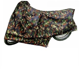 Bull Rider Bike Body Cover with Mirror Pocket for Hero Splendor + (Colour Jungle Print)
