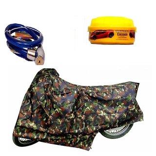 Bull Rider Bike Body Cover with Mirror Pocket for Jungle Print (Colour Jungle Print) + Free (Helmet Lock + Wax Polish) Worth Rs 250