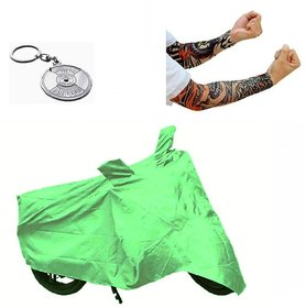 Bull Rider Bike Body Cover with Mirror Pocket for Honda Dream Yuga (Colour Light Green) + Free (Key Chain + Arm Sleeves) Worth Rs 250