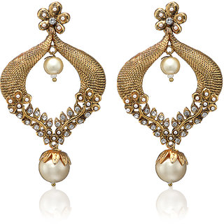 Arum Floral Fushion Of Stone With Pear Golgden Earrings