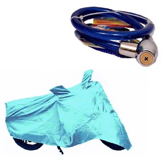 Bull Rider Bike Body Cover with Mirror Pocket for Hero Impulse (Colour Cyan) + Free Helmet Safety Lock Worth Rs 150/