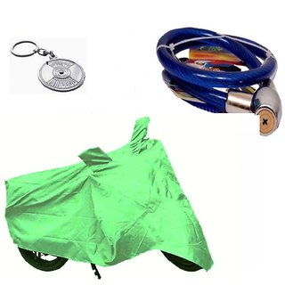 Bull Rider Bike Body Cover with Mirror Pocket for Honda CD100 Dream (Colour Light Green) + Free (Key Chain + Helmet Safety Lock) Worth Rs 250