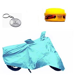 Bull Rider Bike Body Cover with Mirror Pocket for Vespa (Colour Cyan) + Free (Key Chain + Wax Polish) Worth Rs 250