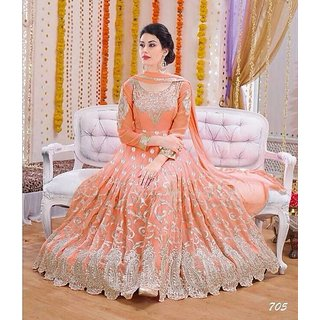 DharMee Orange Net Semi Stitched Suit
