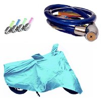 Bull Rider Bike Body Cover with Mirror Pocket for Honda Activa 3G (Colour Cyan) + Free (Helmet Lock + Tyre LED Light) Worth Rs 250