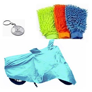 Bull Rider Bike Body Cover with Mirror Pocket for Hero Passion Pro (Colour Cyan) + Free (Key Chain + Microfiber Gloves) Worth Rs 250