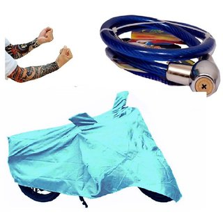 Bull Rider Bike Body Cover with Mirror Pocket for Bajaj Pulsar 150 (Colour Cyan) + Free (Arm Tattoo + Helmet Safety Lock) Worth Rs 250