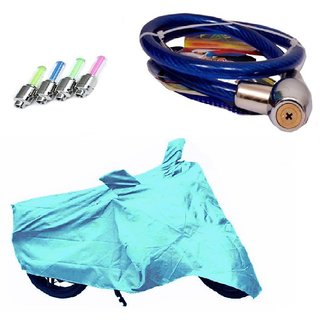 Bull Rider Bike Body Cover with Mirror Pocket for Bajaj Pulsar 220 (Colour Cyan) + Free (Helmet Lock + Tyre LED Light) Worth Rs 250