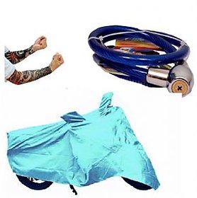 Bull Rider Bike Body Cover with Mirror Pocket for Hero Splendor + (Colour Cyan) + Free (Helmet Lock + Arm Sleeves) Worth Rs 250
