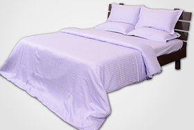 Mark Home Cotton Striped Single Bedsheet(2 Bedsheets, 2 Pillow Covers, Lavender)