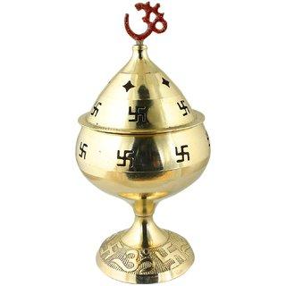 Brass Oil Pooja Diya - Lamp Engraved Design - 6 Inch