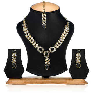 Arum Tradional Kundan With Black Stone Designer Necklace Set
