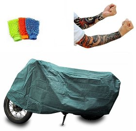 Bull Rider Bike Body Cover with Mirror Pocket for Canvas (Colour Canvas) + Free (Arm Tattoo + Microfiber Gloves) Worth Rs 250
