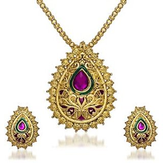 Kriaa Gold Plated Multicolor Alloy Pendant With Chain  Earrings For Women