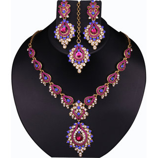Sukkhi Silver Plated Silver Necklace Set With Maang Tikka For Women