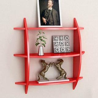 Desi Karigar Beautiful Red 3 Tier Wooden Wall Shelves/Rack (LxBxH-20x4x19) inch