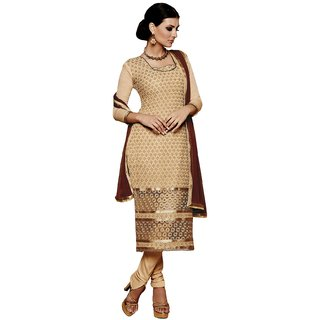 BanoRani Beige Color Chiffon Embroidery UnStitched Dress Material (Chudidar)