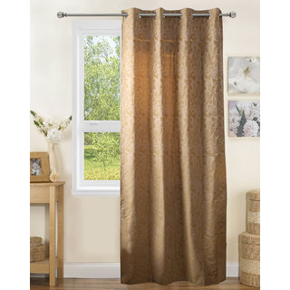 Lushomes Polyester Olive Jacquard Curtains with 8 Eyelets for Door
