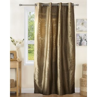 Lushomes Polyester Green Gold Jacquard Curtains with 8 Eyelets for Door