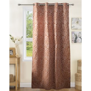 Lushomes Polyester Light Brown Jacquard Curtains with 8 Eyelets for Door