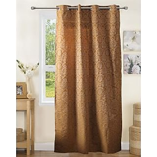 Lushomes Polyester Mustard Jacquard Curtains with 8 Eyelets for Door