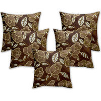 Story @ Home Brown Designer Digital Print Cushion Cover Set Of 5 Pcs - Ch1026