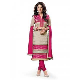 Florence Pink  Beige Embroidered Chanderi Cotton Suit (SB-2943)