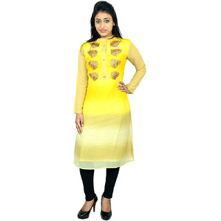 destination yellow color georgette Designer kurti