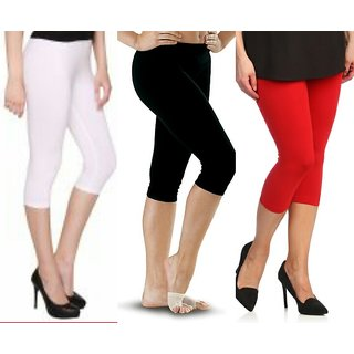 Raabta Red,Black,White Cotton Lycra Capri Set of Three