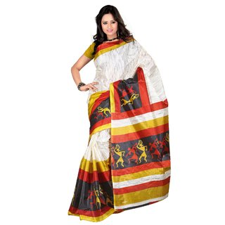 Kajal Sarees Black Art Silk Printed Saree With Blouse