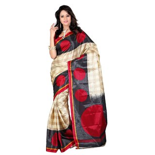 Kajal Sarees Black Art Silk Printed Saree Without Blouse