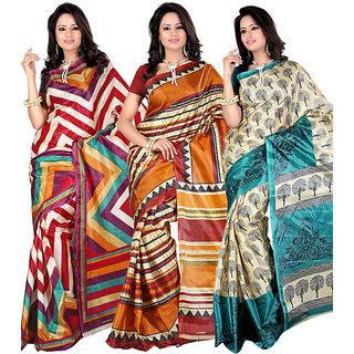 Kajal Sarees Black Art Silk Printed Saree Without Blouse