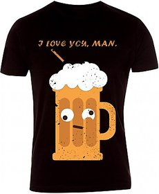 Caricature Printed Mens Round Neck Brown Color Half Sleves T-Shirt