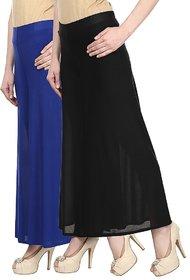 Skyline Pack Of 2 Blue  Black Satin Lycra Palazzo Trousers (SkylineCSDPLZOA35)