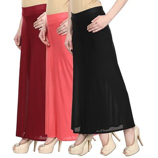 Skyline Pack Of 3 Blue, Maroon  Pink Satin Lycra Palazzo Trousers (SkylineCSDPLZOA1245)