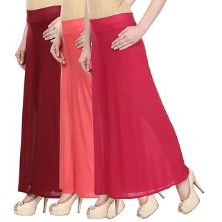 Skyline Pack Of 3 Blue, Maroon  Black Satin Lycra Palazzo Trousers (SkylineCSDPLZOA1246)