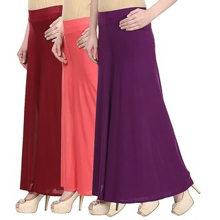 Skyline Pack Of 3 Blue, Maroon  Red Satin Lycra Palazzo Trousers (SkylineCSDPLZOA1249)