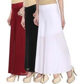 Skyline Pack Of 3 Yellow, Pink  Blue Satin Lycra Palazzo Trousers (SkylineCSDPLZOA1257)