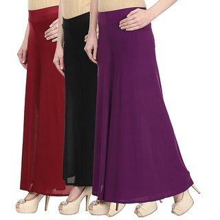 Skyline Pack Of 3 Yellow, Pink  Black Satin Lycra Palazzo Trousers (SkylineCSDPLZOA1259)