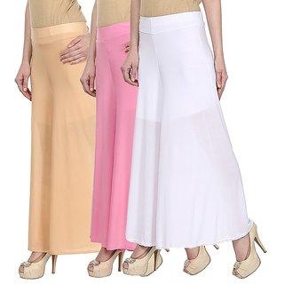 Skyline Pack Of 3 Yellow, Pink  Black Satin Lycra Palazzo Trousers (SkylineCSDPLZOA127)
