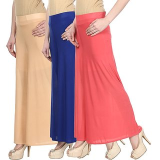 Skyline Pack Of 3 Yellow, Pink  Red Satin Lycra Palazzo Trousers (SkylineCSDPLZOA134)