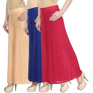 Skyline Pack Of 3 Yellow, Black  Pink Satin Lycra Palazzo Trousers (SkylineCSDPLZOA136)