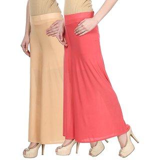 Skyline Pack Of 2 Beige  Pink Satin Lycra Palazzo Trousers (SkylineCSDPLZOA14)