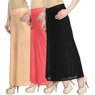 Skyline Pack Of 3 Yellow, Pink  White Satin Lycra Palazzo Trousers (SkylineCSDPLZOA145)