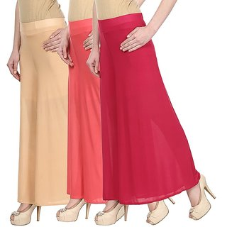 Skyline Pack Of 3 Yellow, Pink  Red Satin Lycra Palazzo Trousers (SkylineCSDPLZOA146)