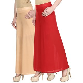 Skyline Pack Of 2 Beige  Red Satin Lycra Palazzo Trousers (SkylineCSDPLZOA18)