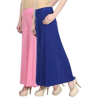 Skyline Pack Of 2 Pink  Blue Satin Lycra Palazzo Trousers (SkylineCSDPLZOA23)